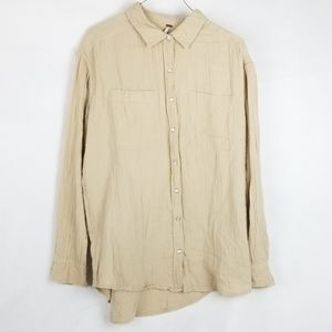 Free People Beige Pearl Snap Gauzy Button Up XS